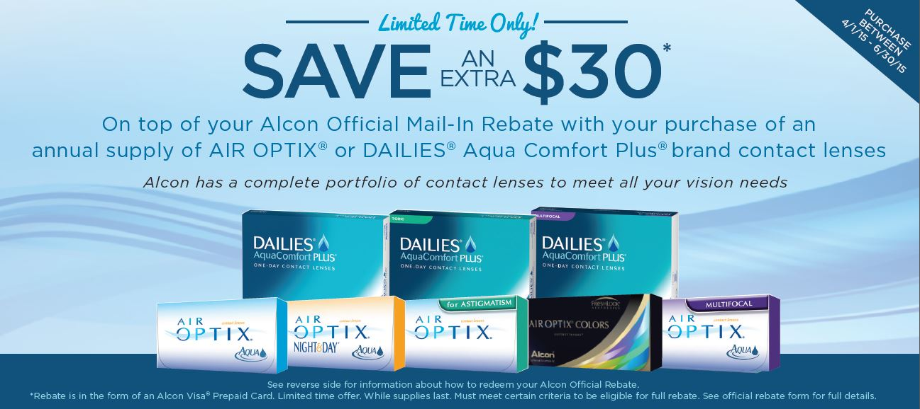 Buy One, Get One FREE on Alcon contact lens solutions when you sign up and redeem your rebate through the AIR OPTIX ® Choice program. † Please allow weeks for delivery of lens care coupon offer to your designated mailing address.
